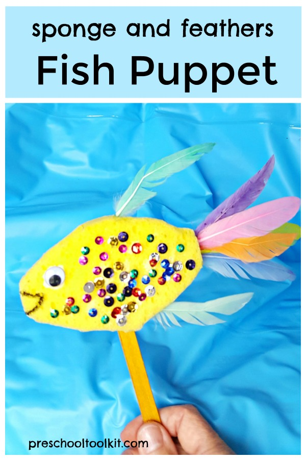 Sponge and feathers fish puppet craft for kids
