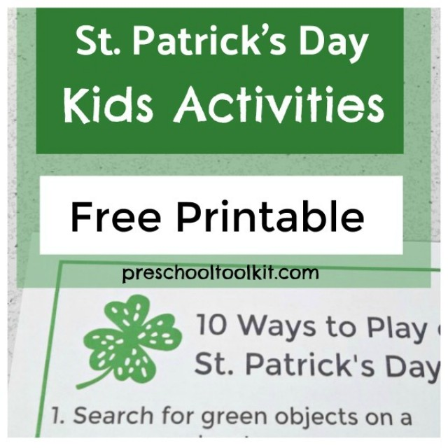 St. Patricks Day list of kids activities printable