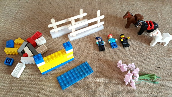 Supplies for equestrian small world play with lego bricks
