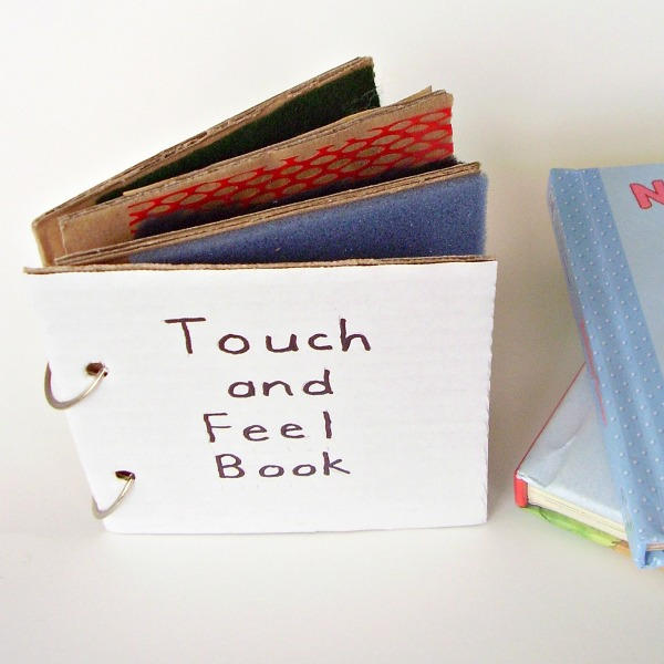 Touch and feel homemade book for early learning sensory activity