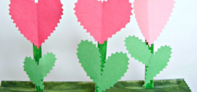 Valentine flower garden fine motor craft for kids