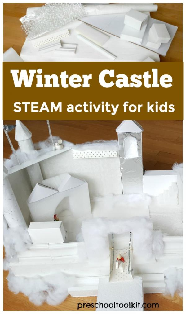 Winter castle STEAM activity for kids