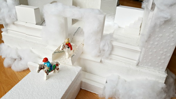 Winter castle with drawbridge kids craft and activity