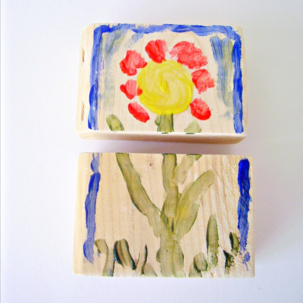Homemade puzzles made with wood blocks