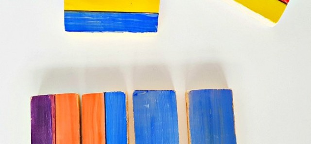 Wood blocks painting and sorting math activity for preschoolers