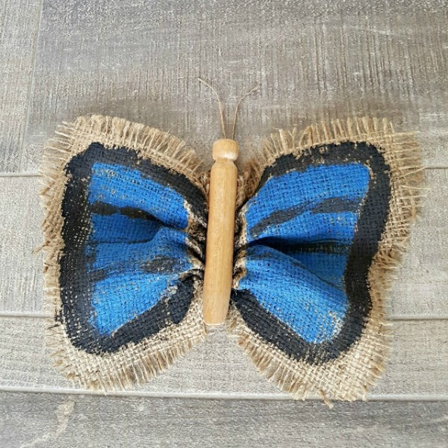 Butterfly kids crafts with painted burlap wings and clothes peg body