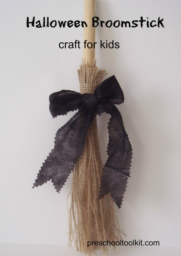 Kids can make a broomstick craft to decorate for Halloween