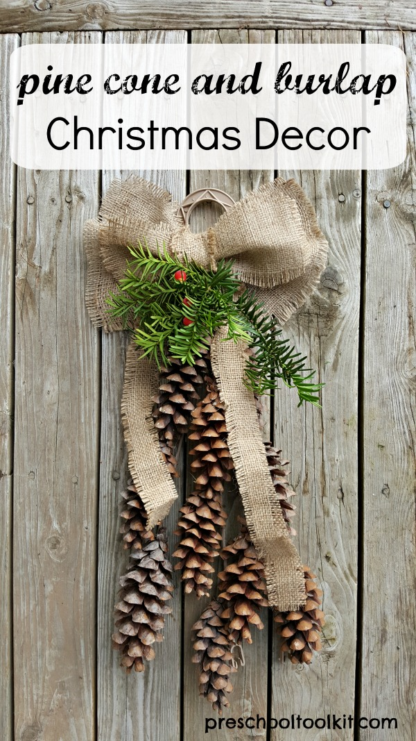 Christmas decoration with pine cones and burlap