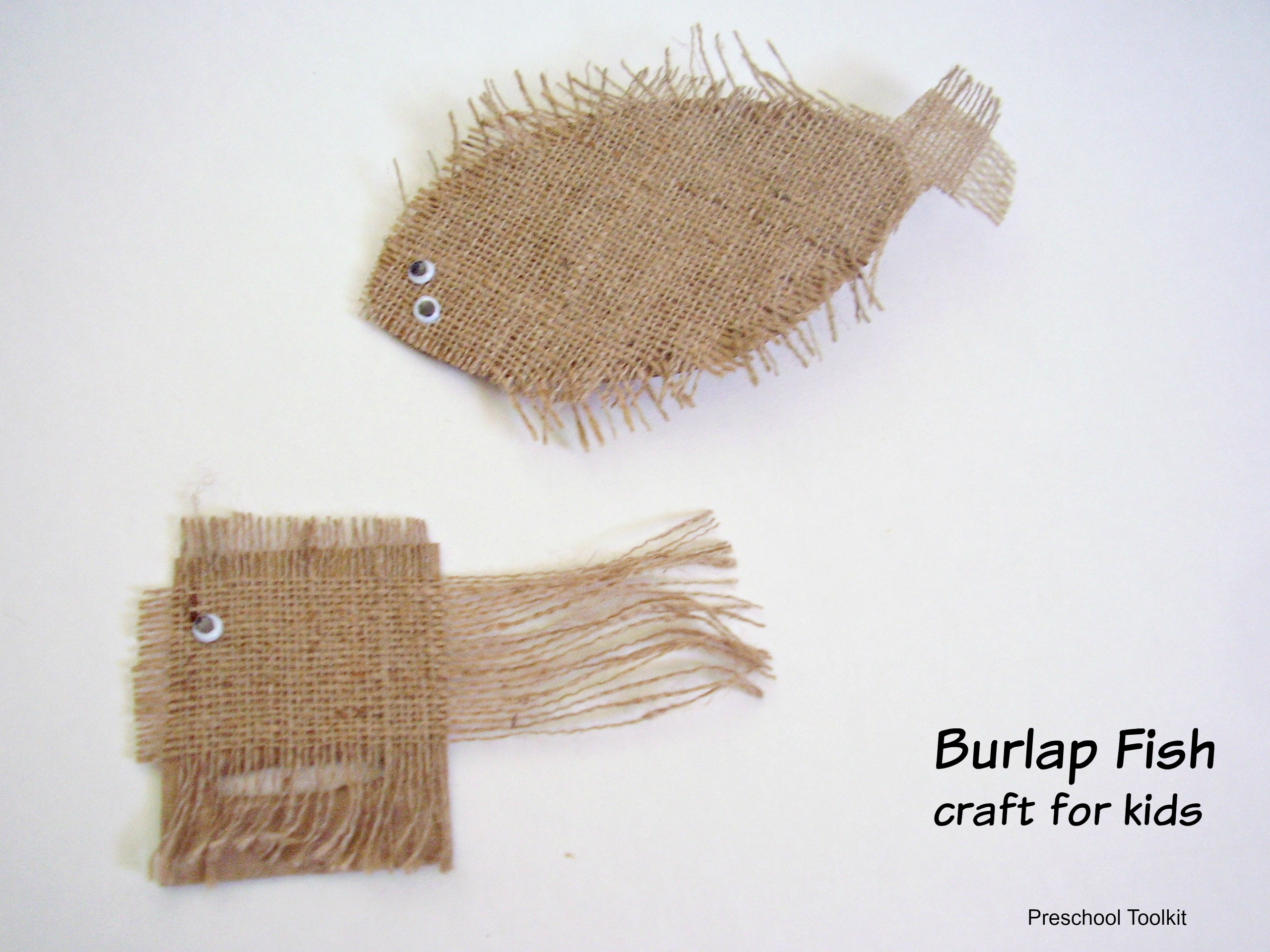 burlap fish craft for kids preschool toolkit