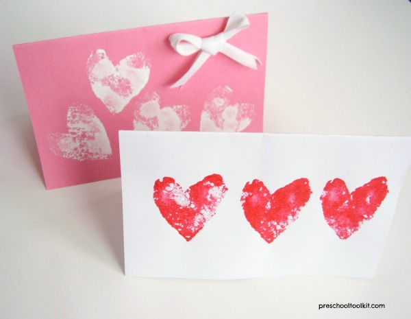 Valentine cards kids can make with heart shaped stamps