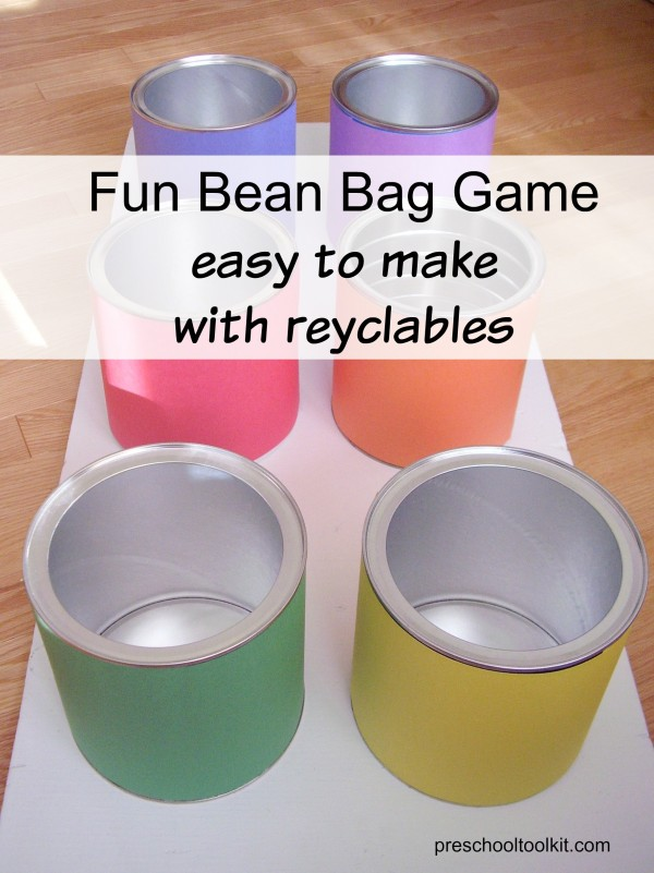 Bean bag game with recycled coffee cans