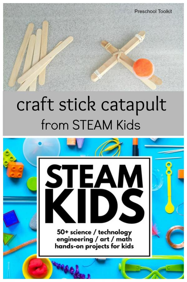Craft stick catapult from STEAM KIDS book