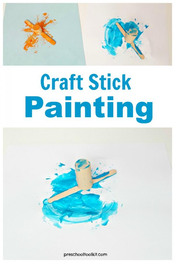 Craft stick painting process art activity for preschoolers