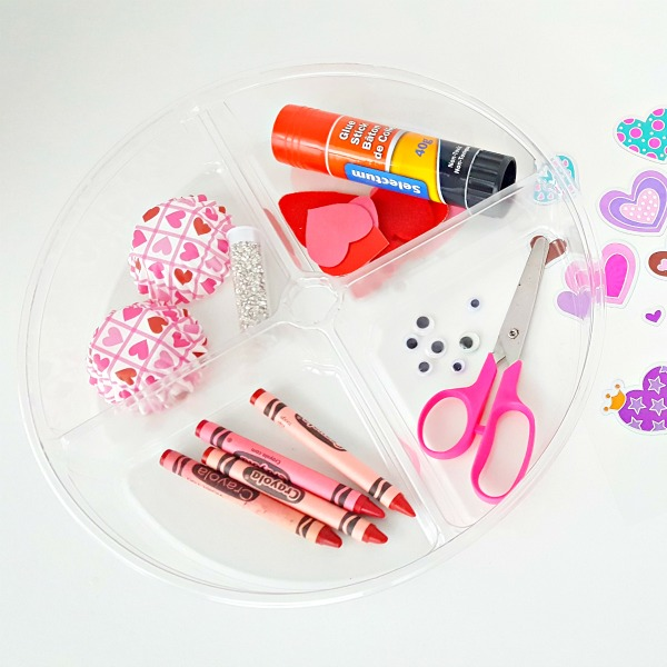 craft supplies for Valentine process art activity making cards