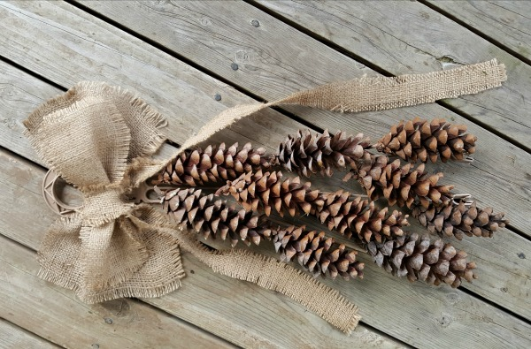 Pine cones and burlap bow for a Christmas craft