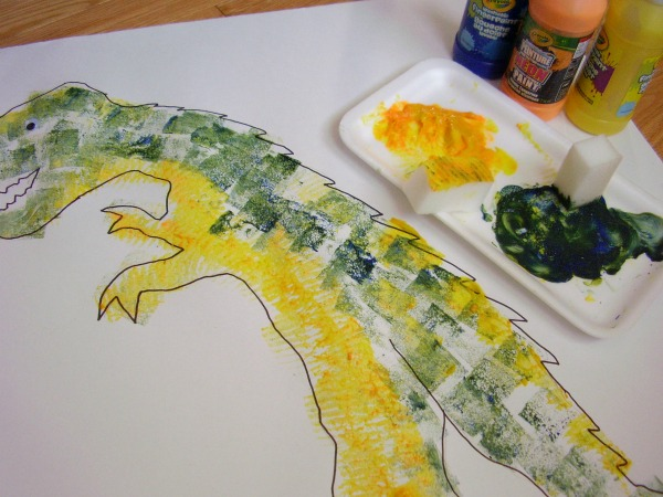 Dinosaur shadow painting activity