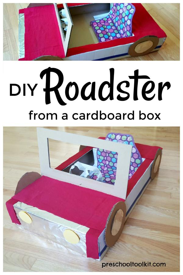 DIY roadster from a cardboard box for pretend play