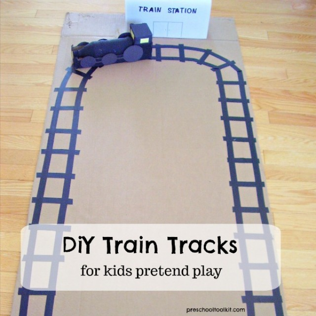 DIY train track for kids pretend play