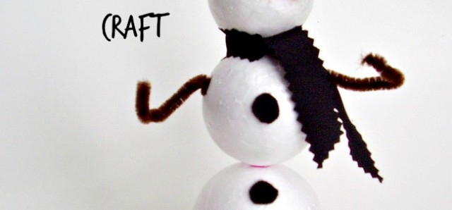 Foam ball snowman craft for kids - Preschool Toolkit