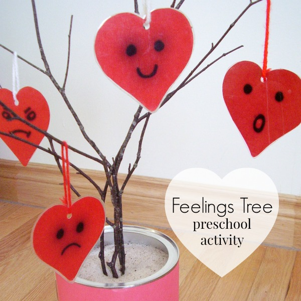 Make a feelings tree with a tree branch for exploring emotions with preschool activities