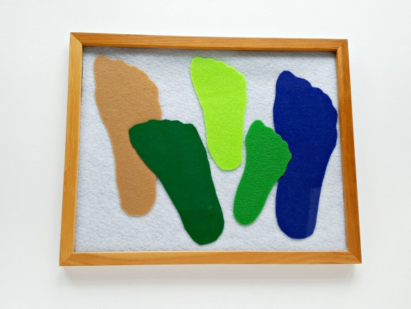 Felt foot cutouts family memory activity