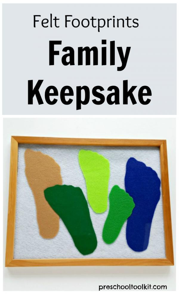 Felt footprints family keepsake craft