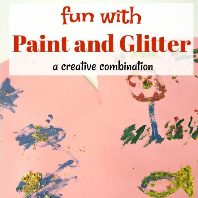 Fun with paint and glitter process art activity for preschoolers