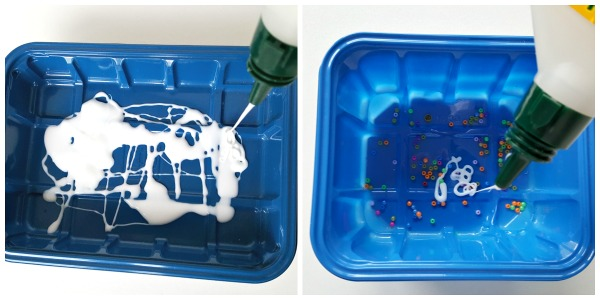 Glue and beads in recycle plastic containers