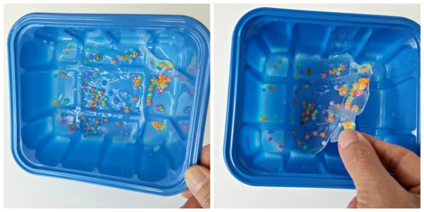 Remove glue and beads from tray when dried into a solid piece