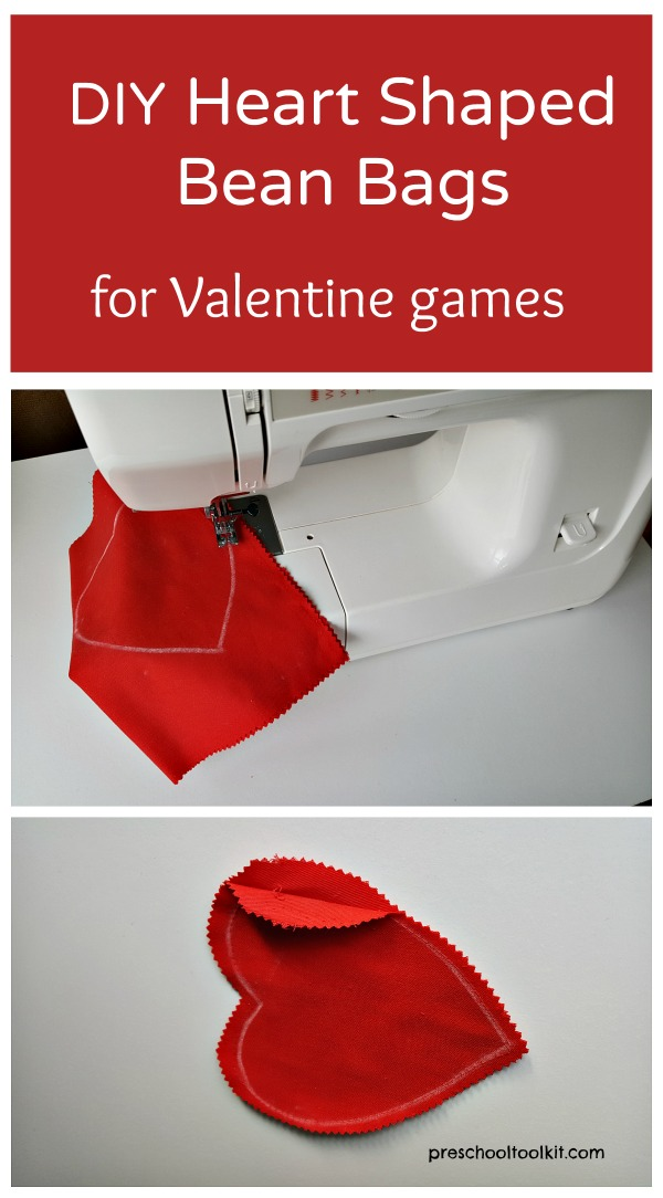 Homemade bean bags for kids Valentine activities