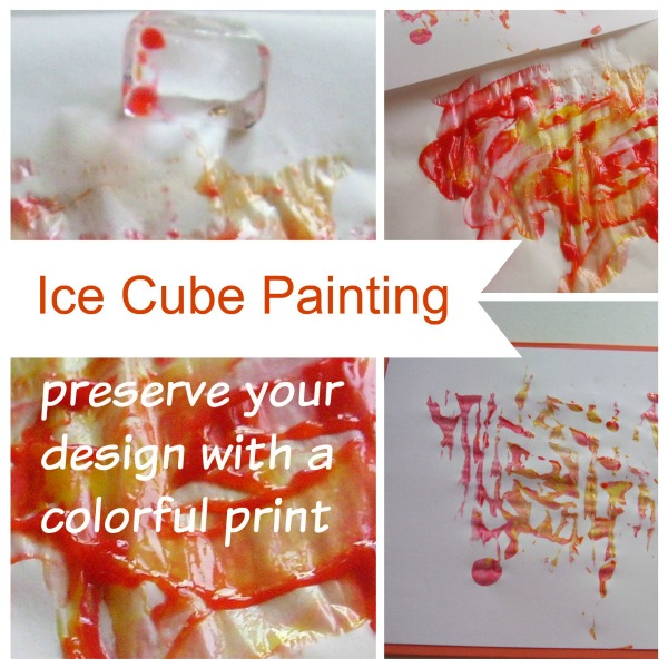 Ice cube painting and colorful prints