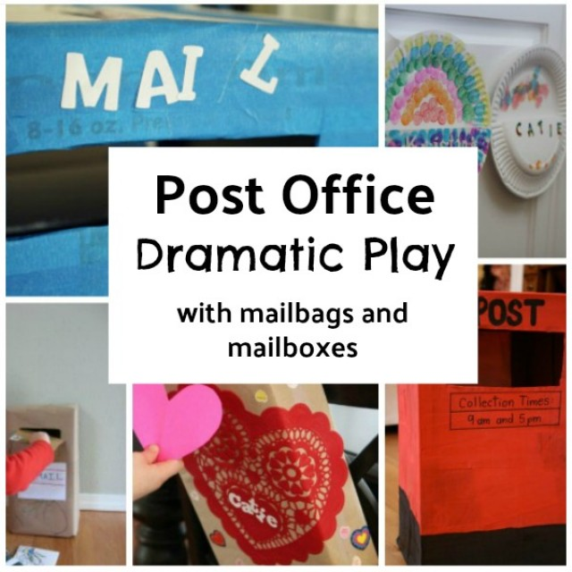 mail boxes and mail bags to make for creative pretend play with preschoolers