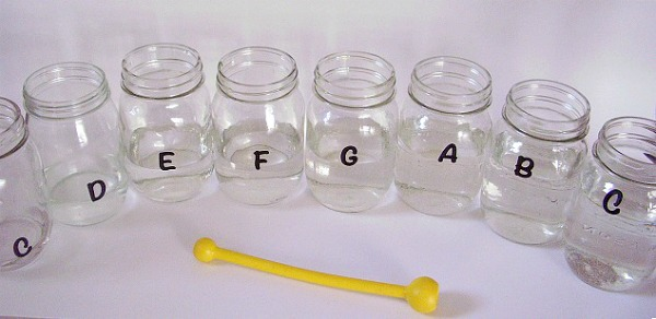 Musical scale kids activity with mason jars