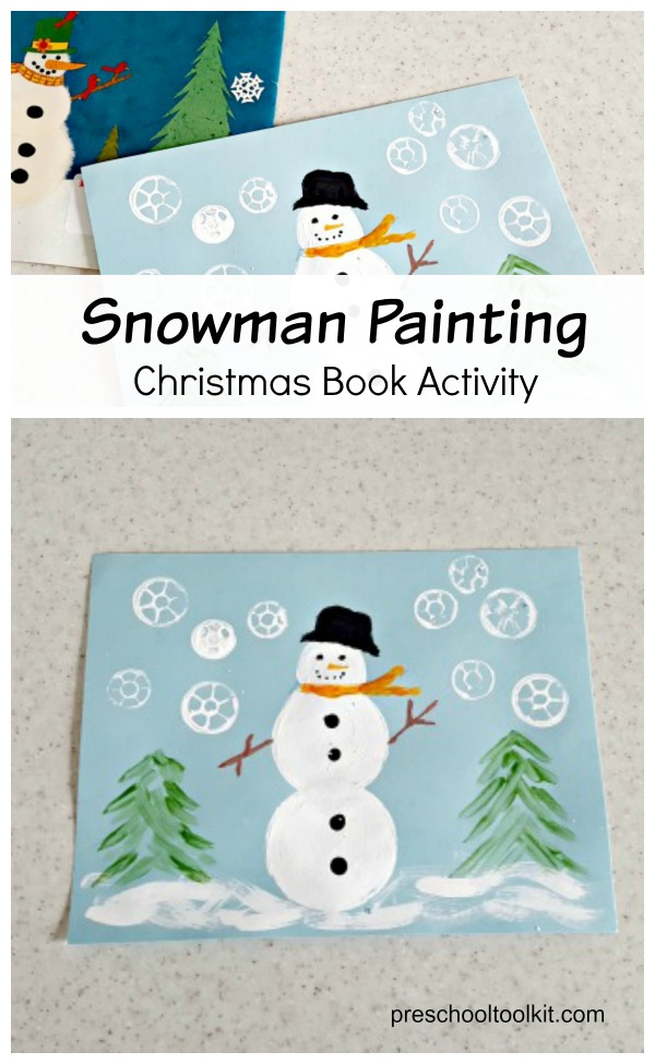 Snowman Painting Activity With Christmas Countdown Book Preschool