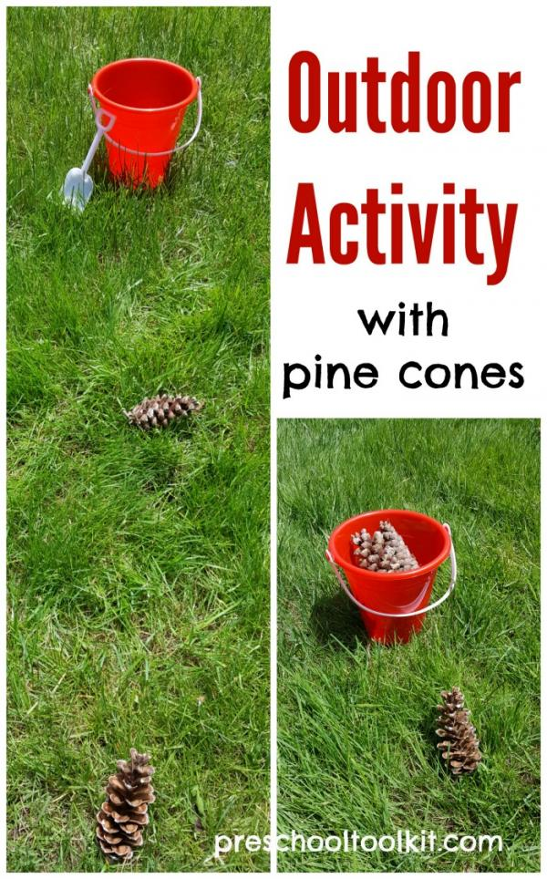 Toddler and preschool outdoor trail activity with pine cones