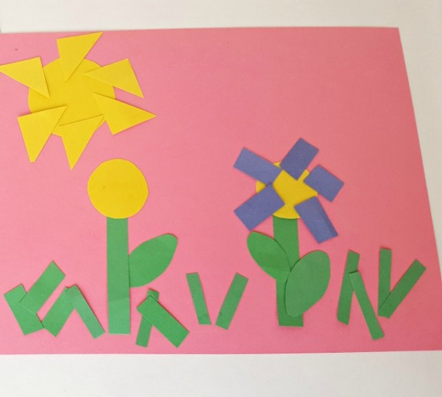 Paper shape flower art activity for preschoolers - Preschool Toolkit