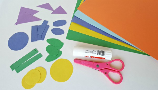 Glue, scissors and construction for flowers craft and math activity