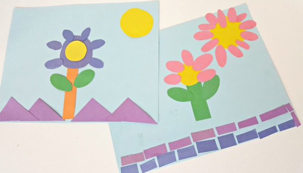 Paper Shape Flowers Preschool Craft