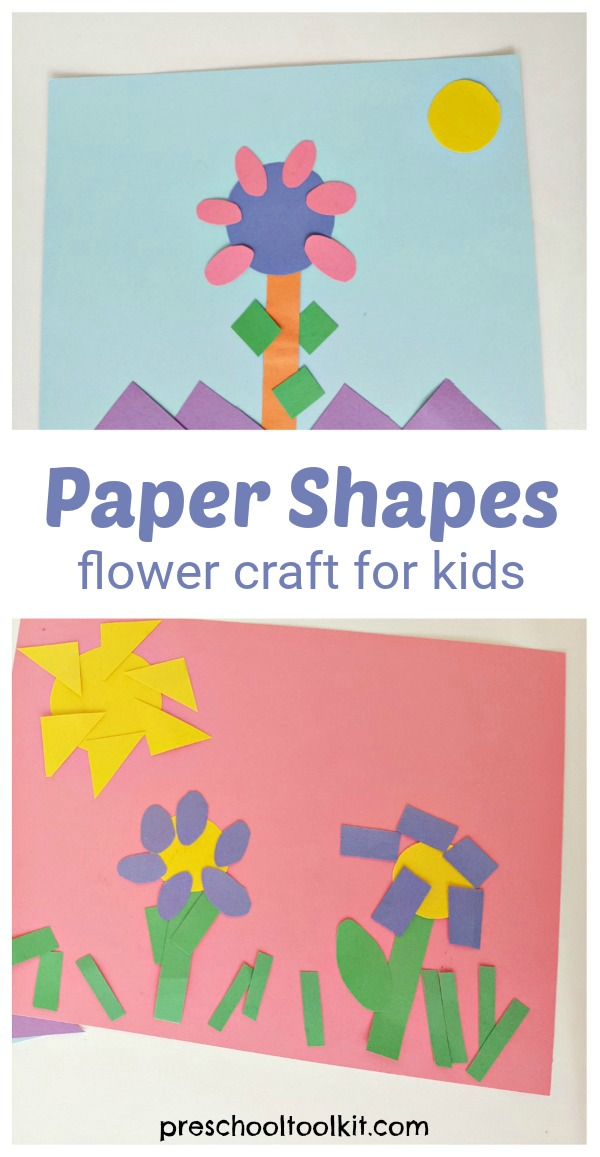 Paper shapes flower craft for preschoolers
