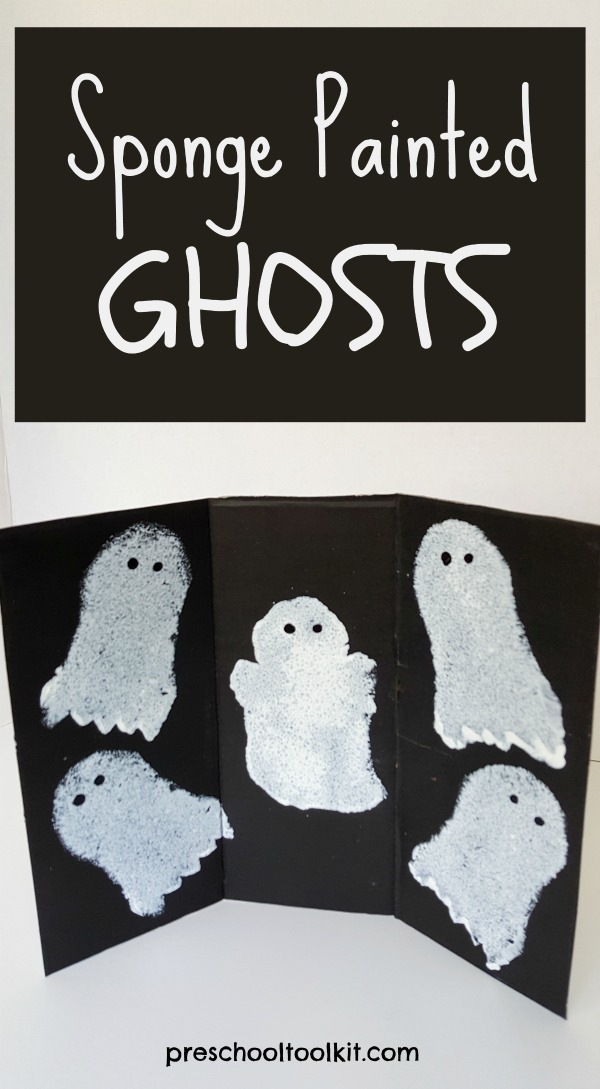 Halloween ghosts sponge painting activity for kids