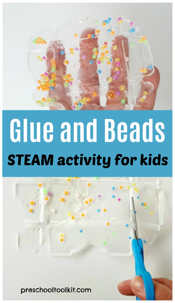 Glue and beads science and art activity for preschoolers