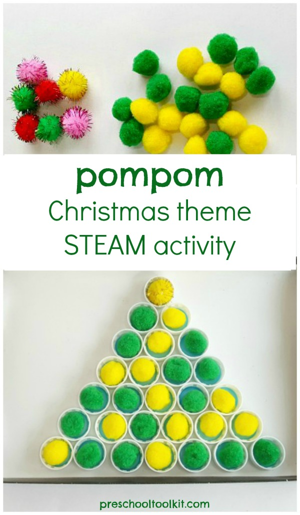 Fine motor preschool activity with pompoms