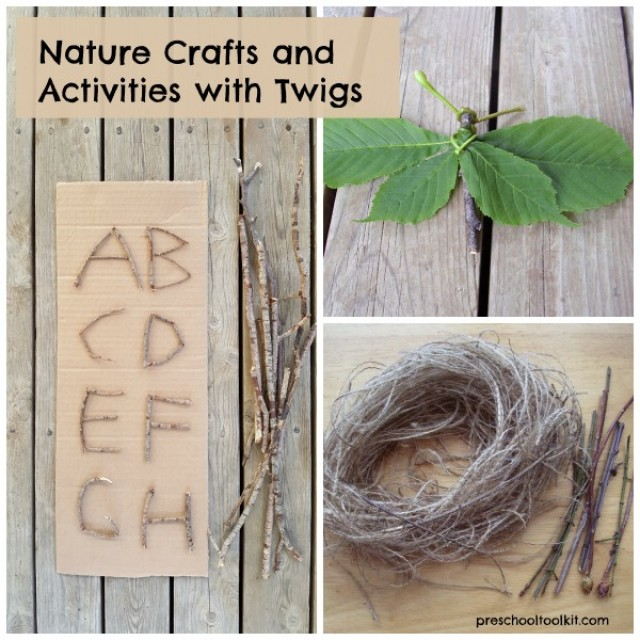 Roundup of 12 + nature crafts using twigs for preschool and kindergarten