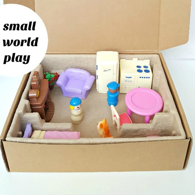 Small world play is easy for kids to create with a cardboard box