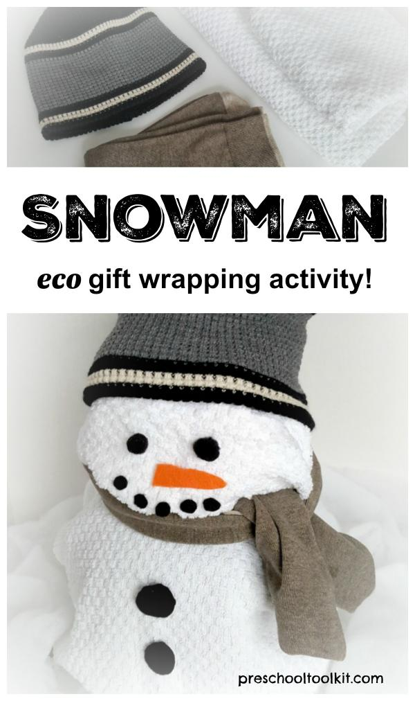 Snowman environmentally friendly gift wrapping activity