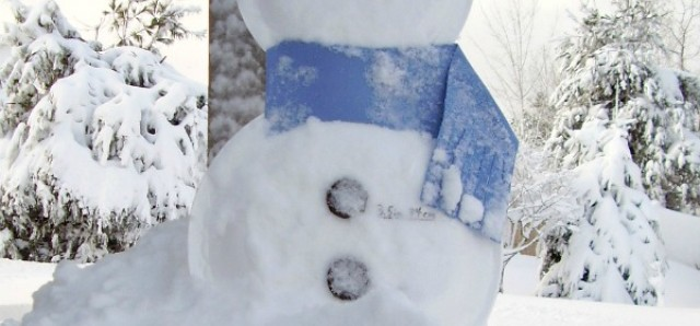 Snowman gauge made with foam plates to measure snowfall in a science for kids activity