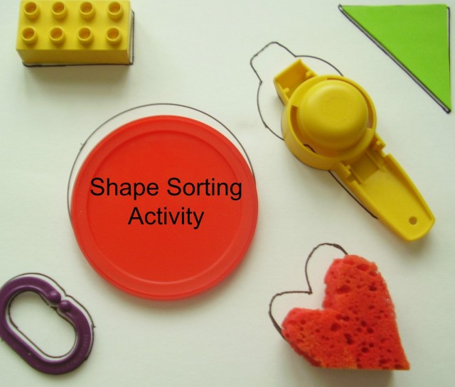 Preschool math activity sorting objects with different shapes and colors