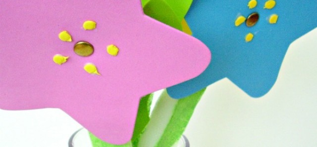Spring flowers made with foam shapes preschool craft