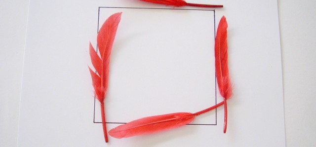 Shapes activity with feathers for preschool math and sensory play