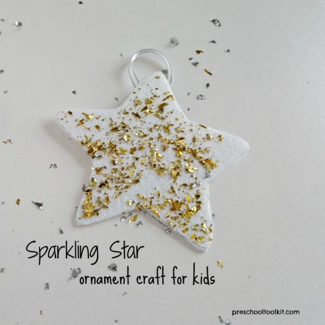 Sparkling star ornament craft for kids - Preschool Toolkit